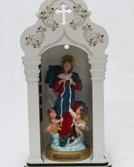 Capela branca mdf 34 cm com imagem Desatadora de Nós em borracha