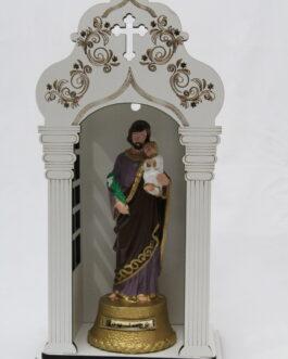 Capela branca mdf 34 cm com imagem São José em borracha