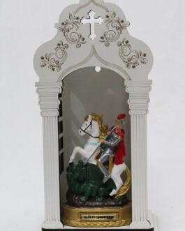 Capela branca mdf 34 cm com imagem São Jorge em borracha