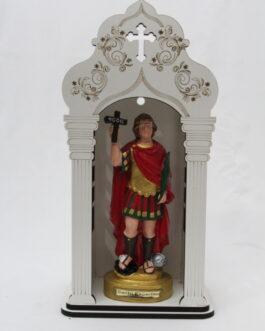 Capela branca mdf 34 cm com imagem Santo Expedito em borracha