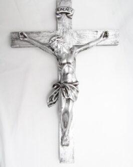 Crucifixo prata 39 cm em borracha