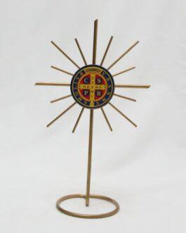 Adorno de mesa Medalha de São Bento de metal 19 cm